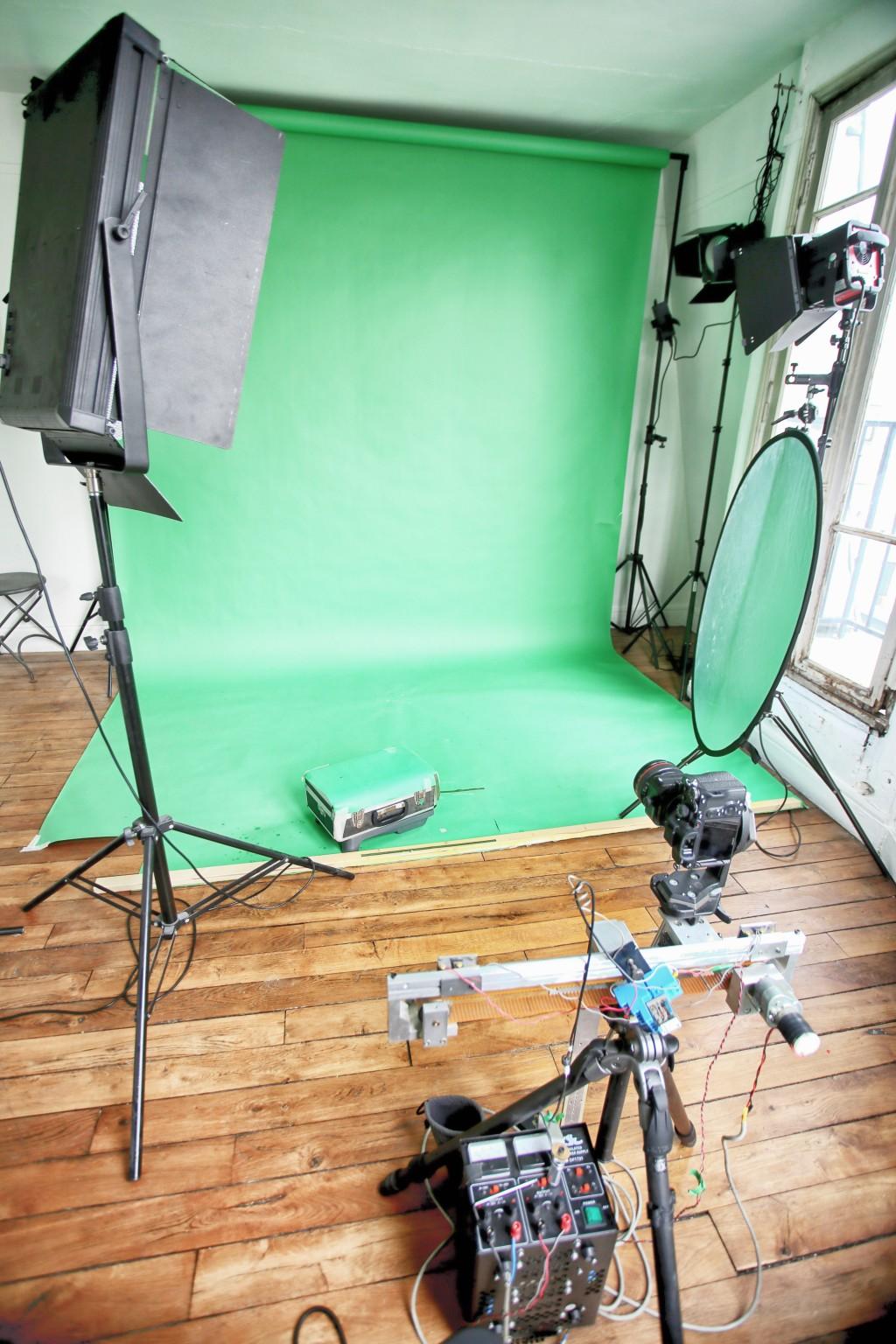 Fond vert avec dispositif pour série d'images